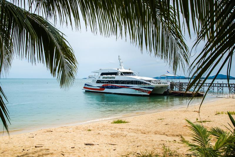 Lomprayah high-speed catamaran stands at the pier, located on a sandy beach . Koh Samui Thailand.14.10.2011.  stock images
