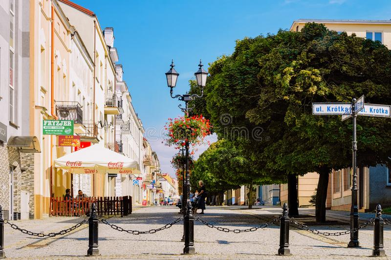 Street view in the center of Lomza in Poland. Lomza, Poland - July 30, 2018: Street view in the center of Lomza in Poland royalty free stock photography