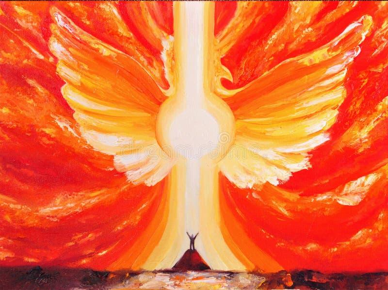 Lona, aceite, Phoenix, alma, alcohol, despertando, ascensión, puesta del sol, energía, fuerza, meditación, fuego, alas separadas, fotografía de archivo