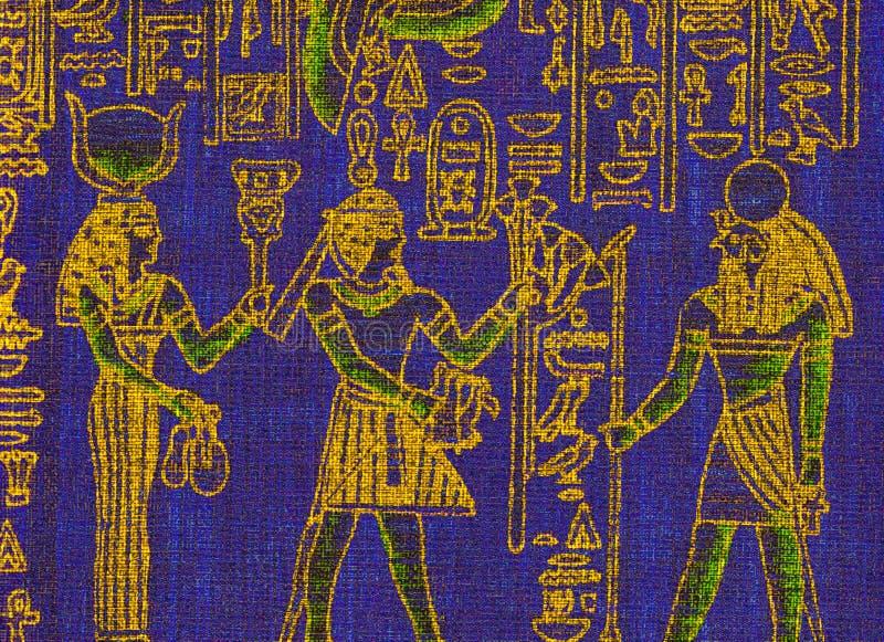 Lona azul con símbolos egipcios stock de ilustración
