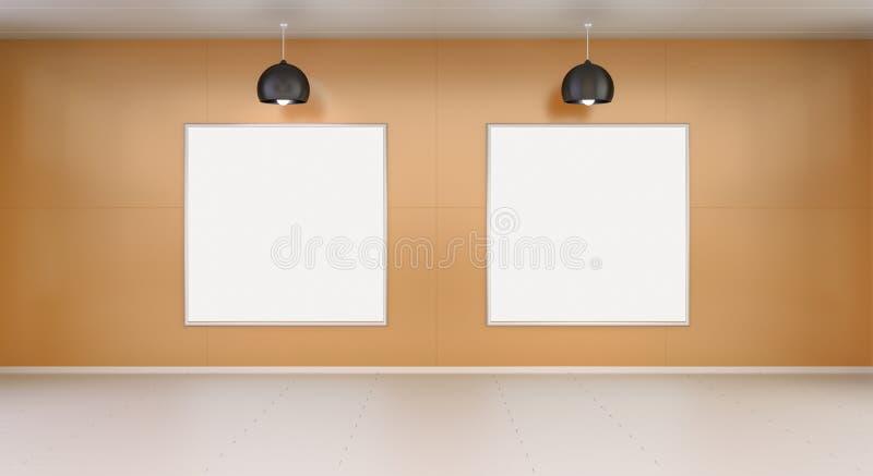 Lona blanca de dos espacios en blanco en una representación de la pared 3D stock de ilustración