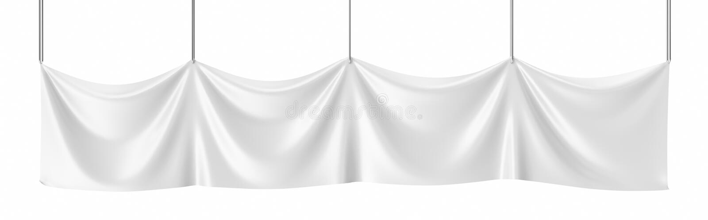Lona branca, bandeira vazia do modelo isolada rendição 3d imagem de stock