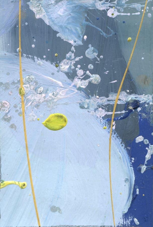 Lona causada dor sumário da aquarela O acrílico do efeito do deserto espirra a pintura feito à mão linhas amarelas e textura azul imagem de stock royalty free