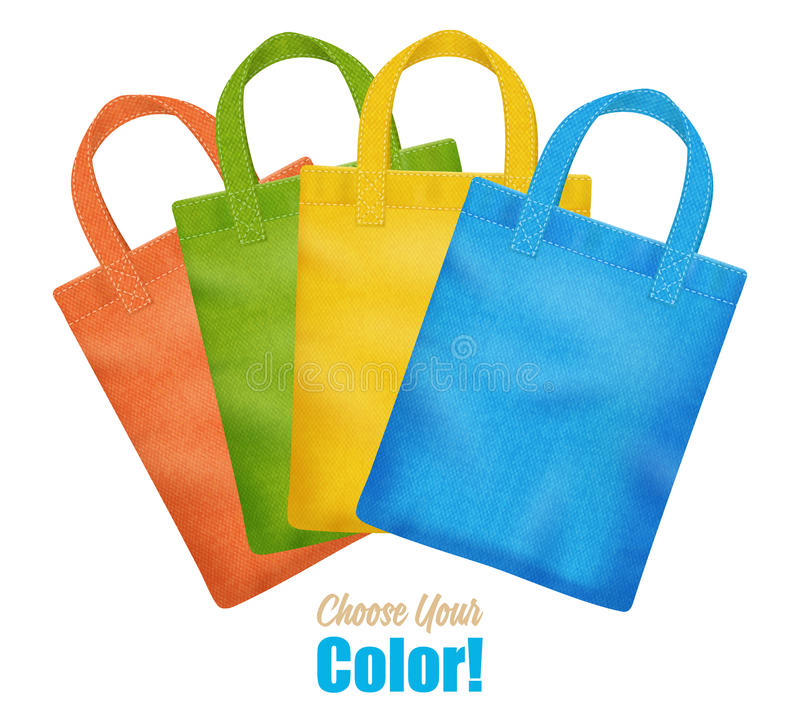 Lona colorida Tote Bags Collection Advertisement ilustração royalty free