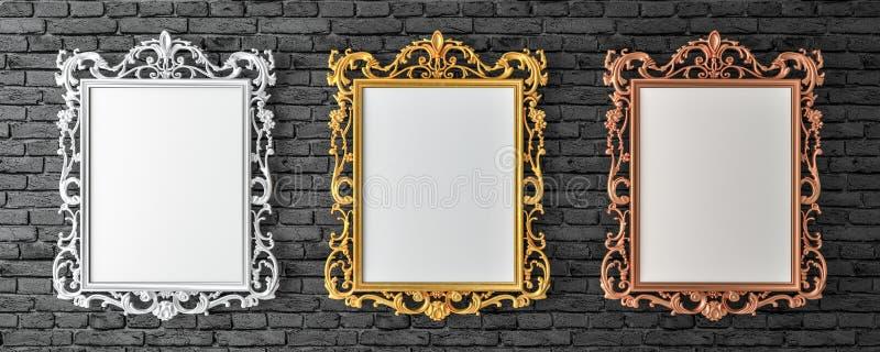 Lona com ouro do vintage, prata, quadros do broze na parede de tijolo ilustração do vetor