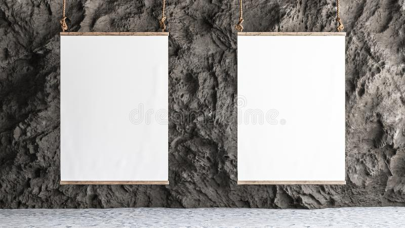 A lona dois pendurou na galeria com interior da parede da rocha ilustração stock