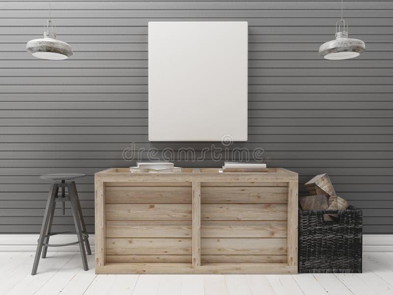 Lona en blanco en el interior industrial de madera de la pared negra fotografía de archivo