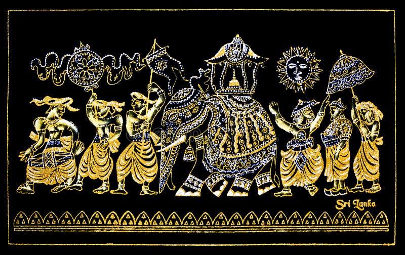 Lona feito à mão tradicional cingalesa Art Of Kandy Esala Procession do brilho foto de stock