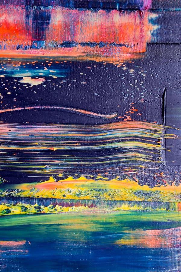 Lona pintada extracto Pinturas de aceite en una paleta foto de archivo