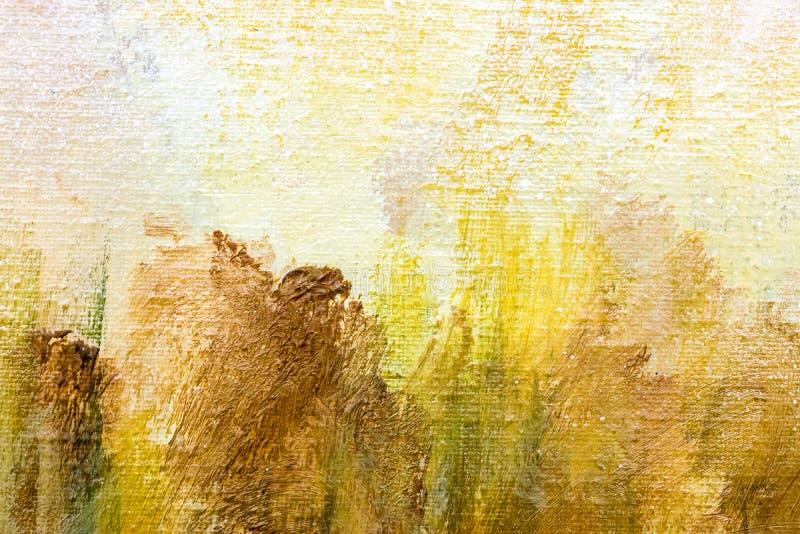 Lona pintada a mano abstracta con Br marrón y amarillo expresivo fotos de archivo libres de regalías