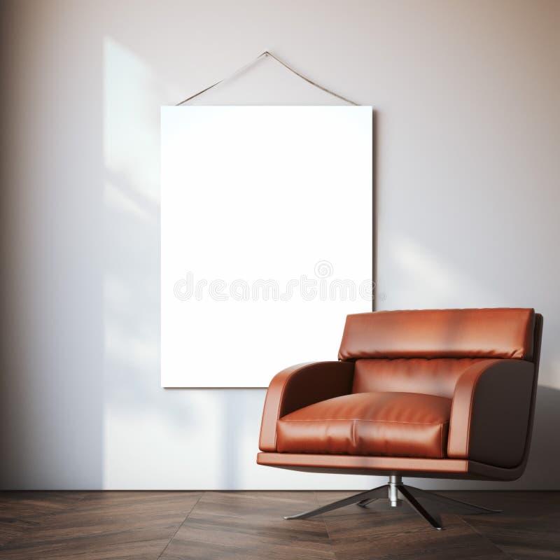 Lona vazia no interior moderno rendição 3d imagem de stock