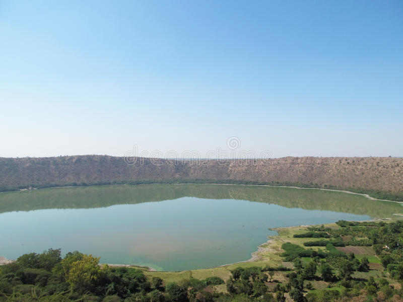 Lonar crater lake. Photo of lonar crater lake, created by a meteor impact Place - Lonar,India royalty free stock images