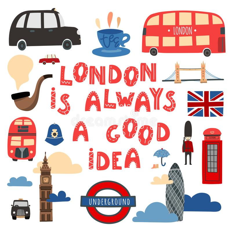 Londen is altijd een goed idee Hand getrokken het van letters voorzien en van Londen symbolen royalty-vrije illustratie