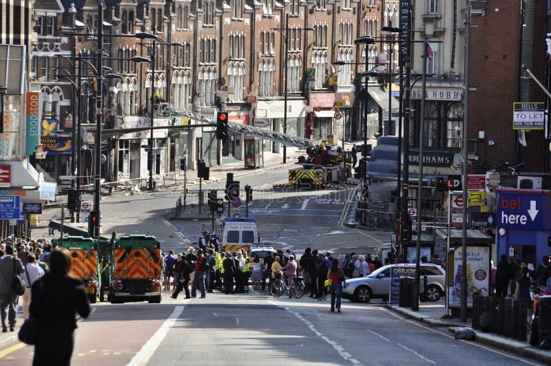 LONDEN - AUGUSTUS 09: Het gebied van de Verbinding van Clapham is sacke royalty-vrije stock afbeelding