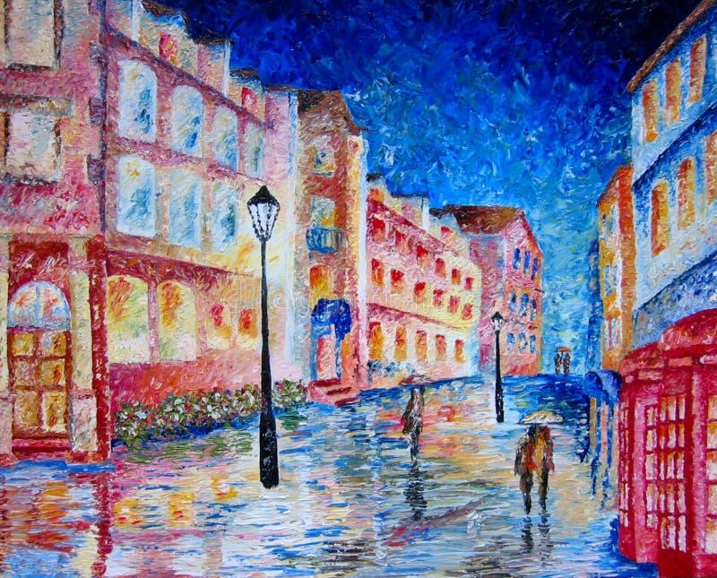 Londen dat in kleurrijk olieverfschilderij wordt geschilderd. vector illustratie