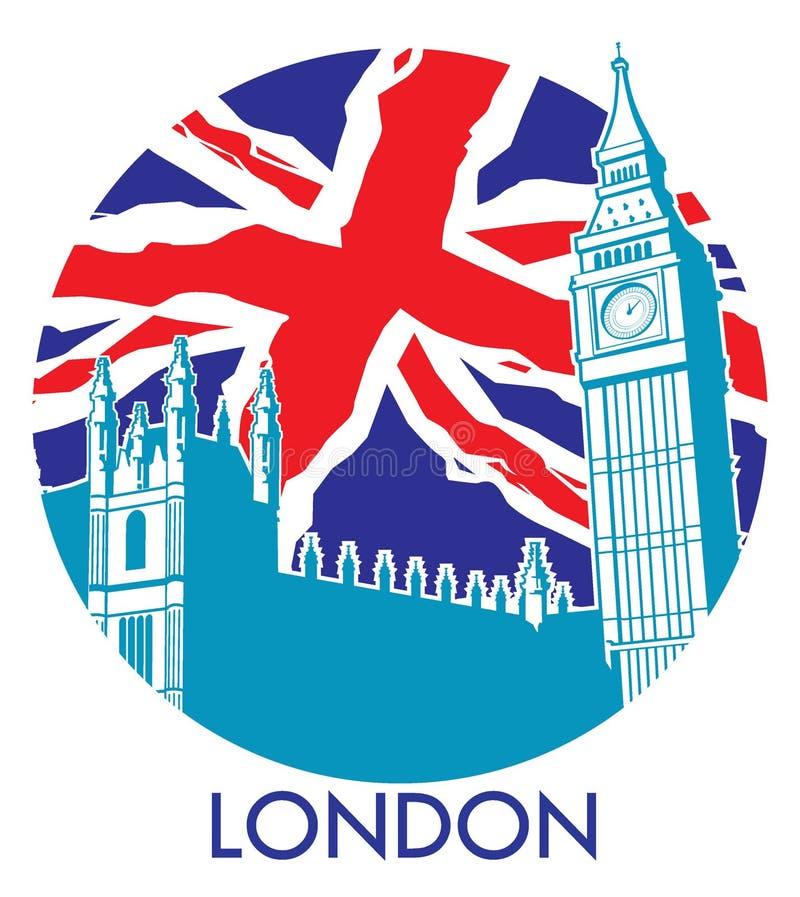 Londen de Big Ben met Union Jack-vlagachtergrond vector illustratie