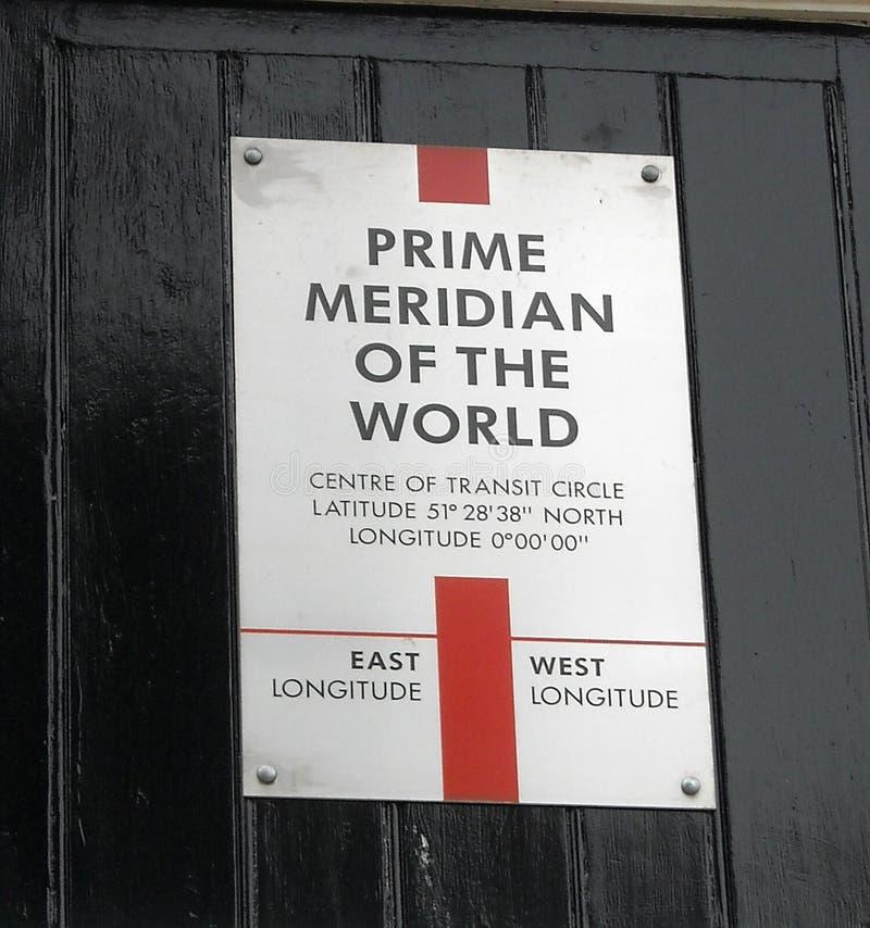 Londen de Meridiaan van Greenwich stock foto's
