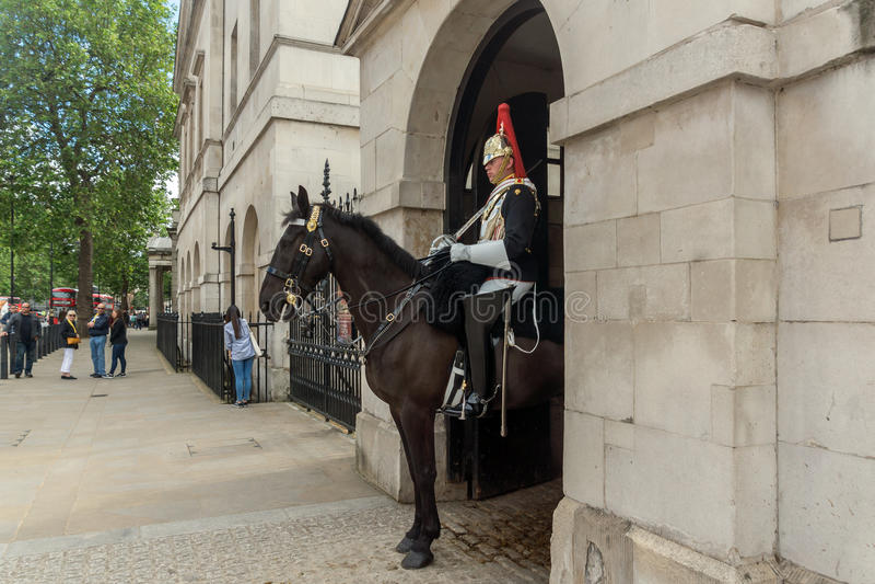 LONDEN, ENGELAND - JUNI 16 2016: De paardwachten paraderen, Londen, Engeland, Groot-Brittannië stock afbeelding