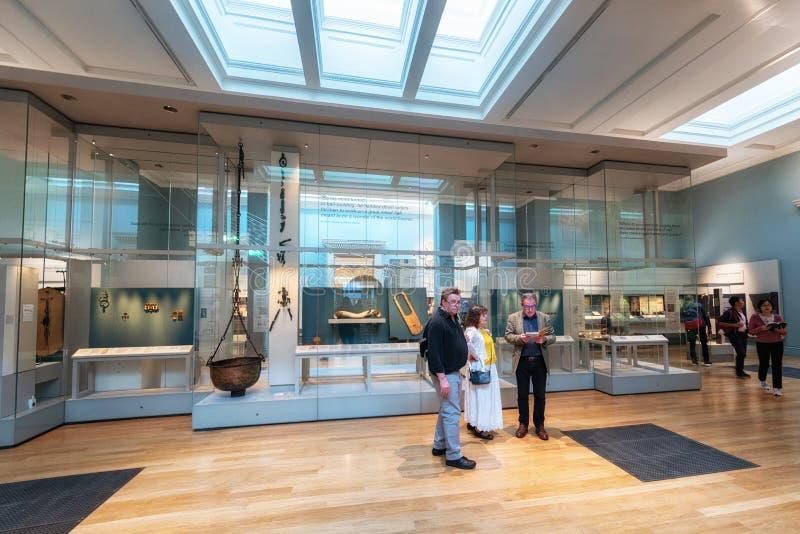 Londen, Engeland - Mei 13, 2019: Binnenland van British Museum in Londen Het werd gevestigd in 1753 royalty-vrije stock foto's
