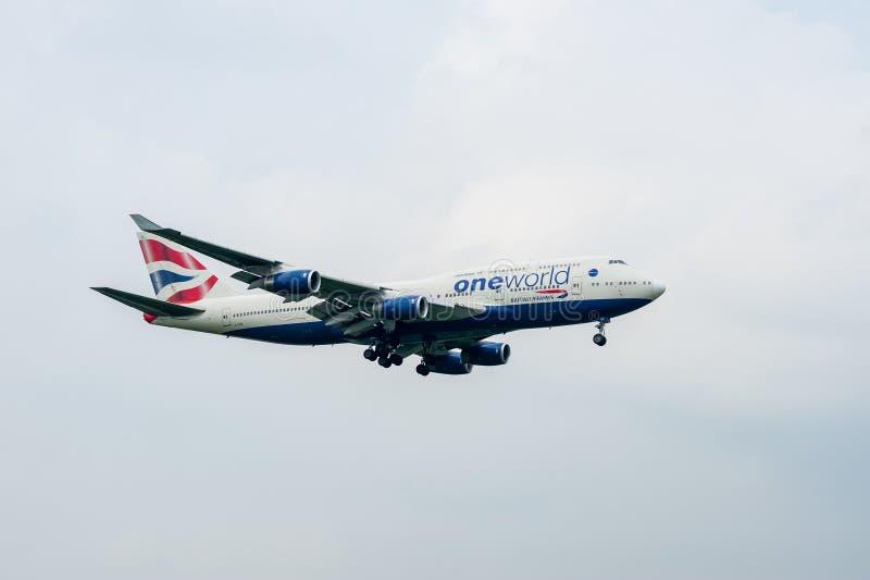 LONDEN, ENGELAND - SEPTEMBER 27, 2017: British Airways-livrei 747 die g-CIVL van Luchtvaartlijnenboeing Oneworld in de Intern van royalty-vrije stock foto
