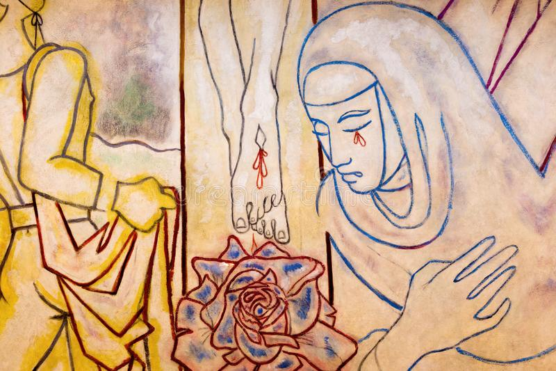 LONDEN, GROOT-BRITTANNIË - SEPTEMBER 18, 2017: Het detail van Kruisigings moderne fresko in kerk Notre Dame de la France royalty-vrije stock foto's