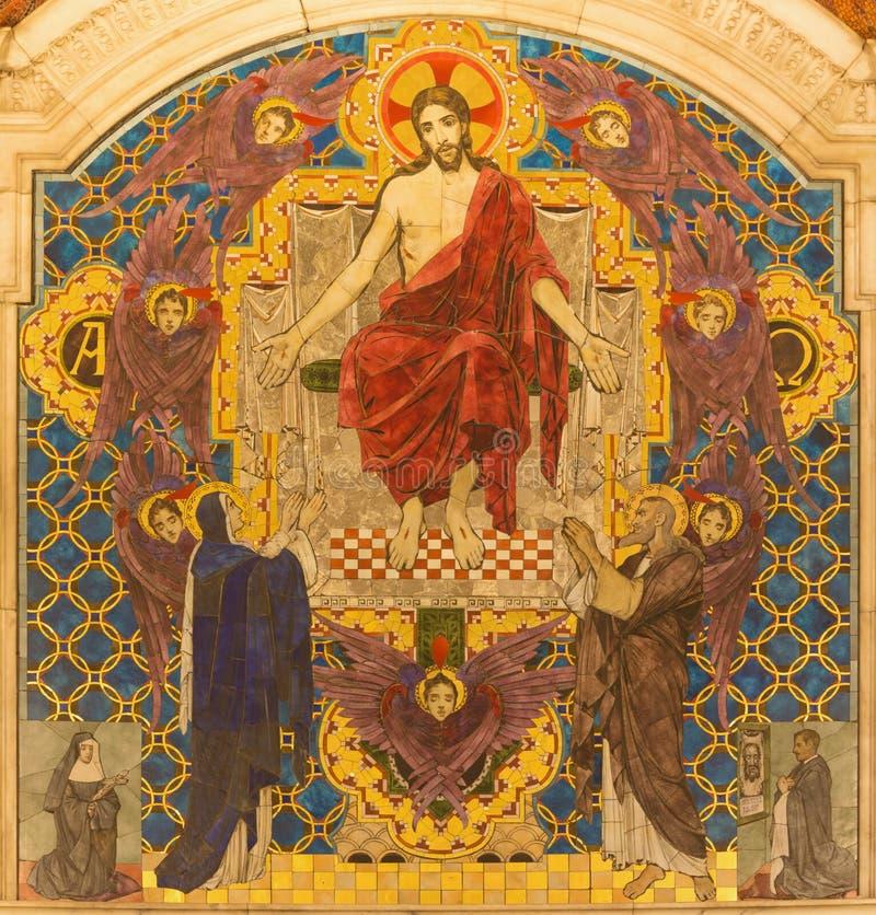 LONDEN, GROOT-BRITTANNIË - SEPTEMBER 17, 2017: Tyled mozaïek van Jesus Christ Pantokrator in de kathedraal van Westminster royalty-vrije stock afbeelding