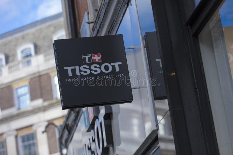 Londen, Groot Londen, het Verenigd Koninkrijk, 7 Februari 2018, a-teken en embleem voor Tissor royalty-vrije stock foto