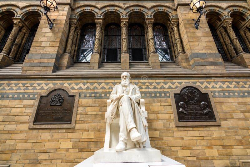 Londen, het UK - 25 Juli, 2017: Het marmeren standbeeld van Charles Darwin royalty-vrije stock afbeeldingen
