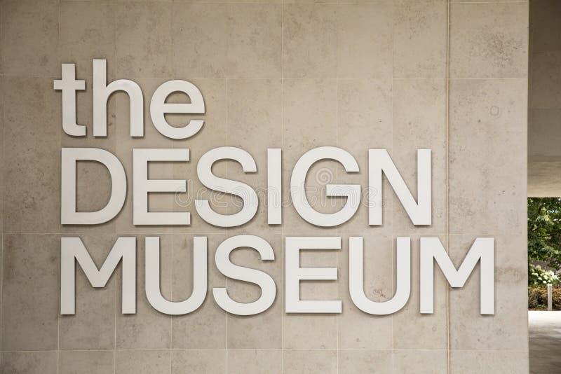 Londen, het UK, 18 Juli 2019, ingang aan het Ontwerpmuseum in Kensington royalty-vrije stock foto