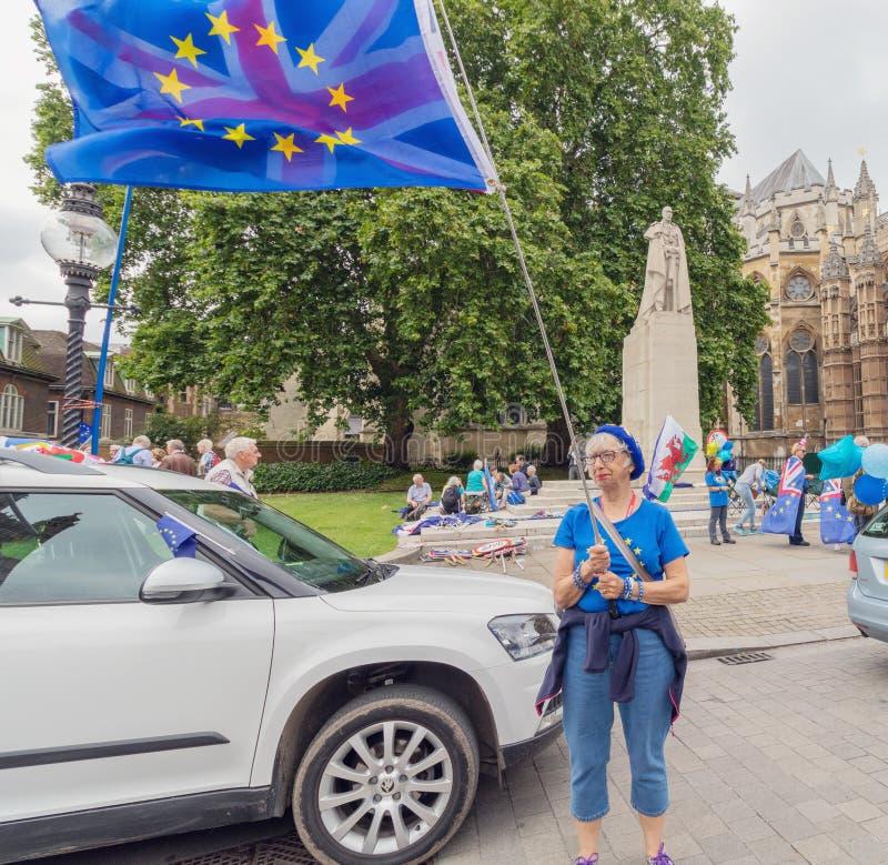 Londen/het UK - 26 Juni 2019 - protesteerder de pro-EU anti-Brexit houden Europese Unie en Union Jack-vlaggen tegenover het Parle royalty-vrije stock foto's