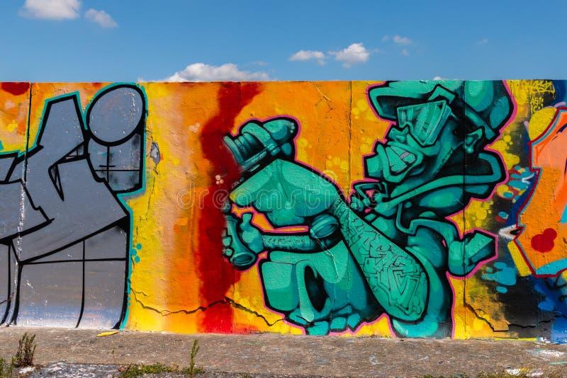 LONDEN, het UK - 21 MEI, 2019 schilderijenpanorama van de straatkunst op de muur in het park in Londen, een muur waar de straatku vector illustratie