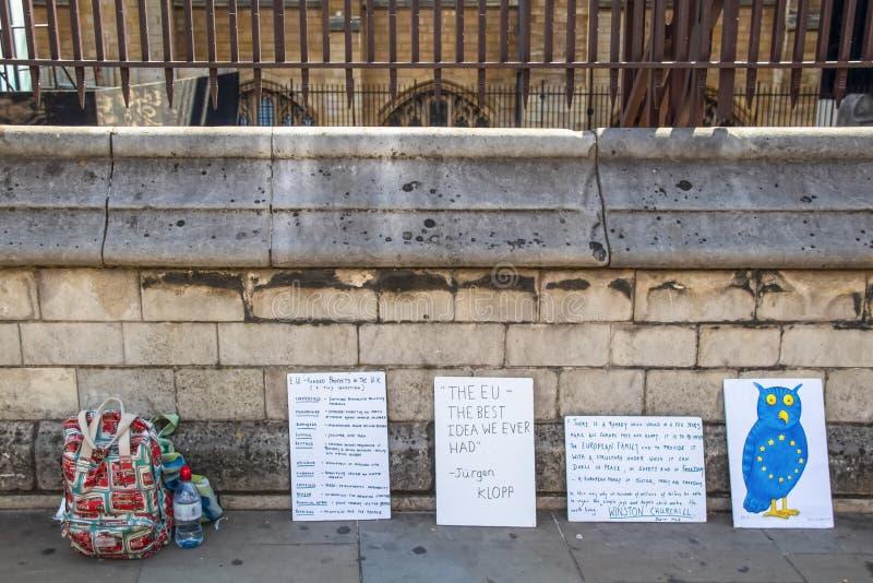 Londen het UK 7 24 tekens van de EU van Antibrexit van 2019 Pro op stoep met rugzak en water dichtbij royalty-vrije stock afbeeldingen