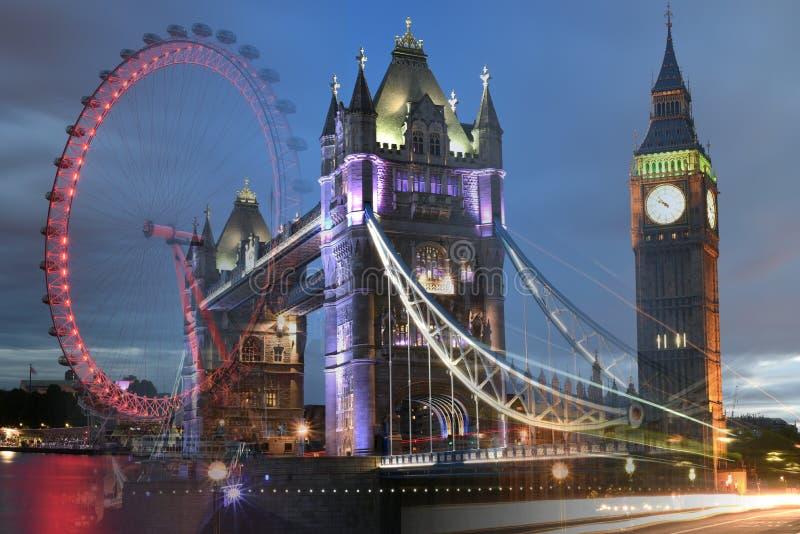 Londen, het UK: Torenbrug, Big Ben, het samengevoegde schot van Londen Oog royalty-vrije stock foto's