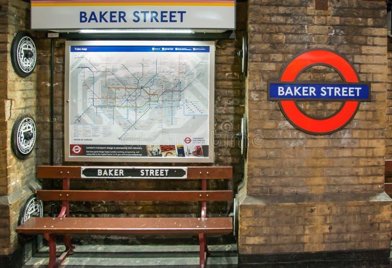 Londen Maart 2016 Baker straatpost royalty-vrije stock foto's
