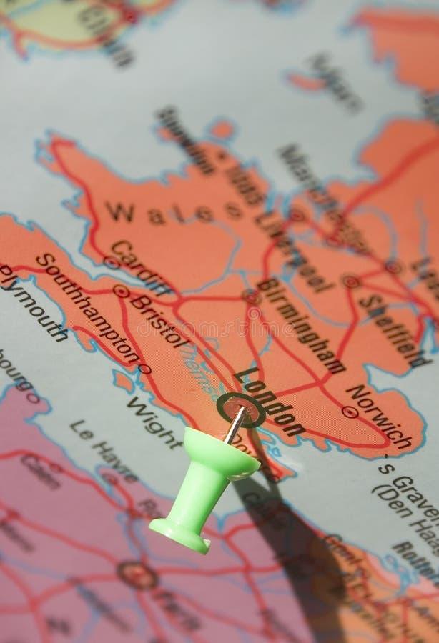 Londen op de kaart stock afbeeldingen