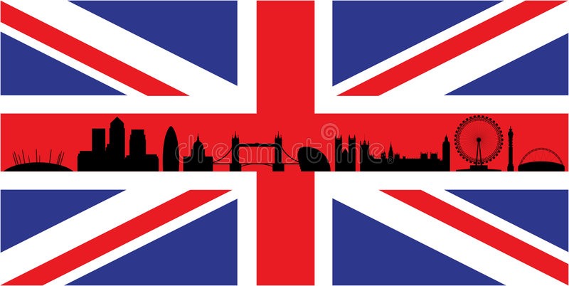 Londen op Union Jack vlag royalty-vrije illustratie