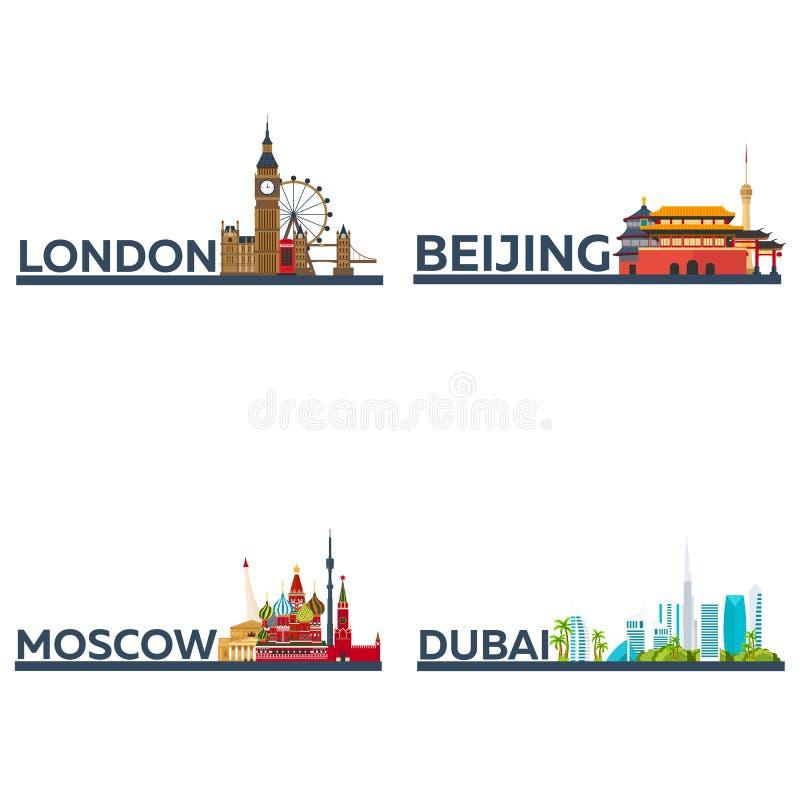 Londen, Peking, Moskou, Doubai Vastgesteld Toerisme Reizende illustratiestad Modern vlak ontwerp Engeland, China, Rusland, de V.A vector illustratie