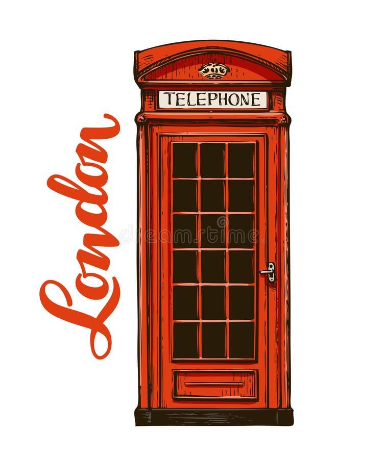 Londen, rode telefooncel Vector illustratie stock illustratie