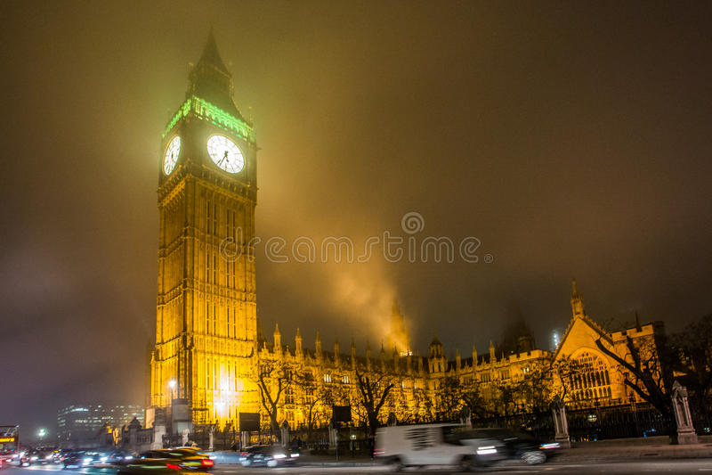 Londen, 's nachts Big Ben stock fotografie