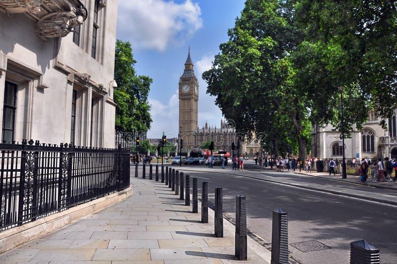 Londen streetview bij de klokketoren Big Ben, Westminster stock fotografie