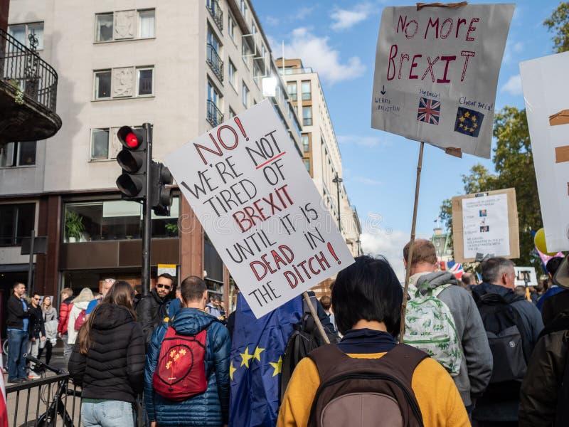 LONDEN, UK - OKTOBER 19 OKTOBER 2019: De volksstemmars, demonstranten tegen Brexit zwaaien EU-vlaggen en blijven borden royalty-vrije stock foto