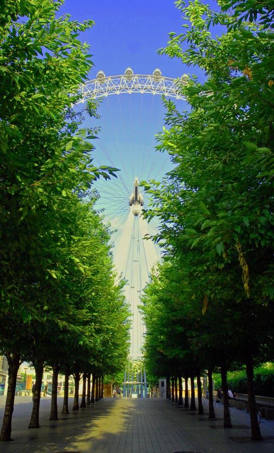 London öga till och med träden fotografering för bildbyråer