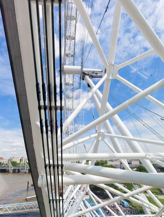 London ögonkonstruktion, mekanism som sett från kapseln london uk royaltyfri fotografi