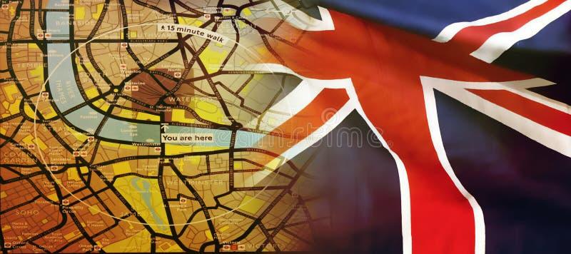 London översikt och en UK-flagga royaltyfria bilder