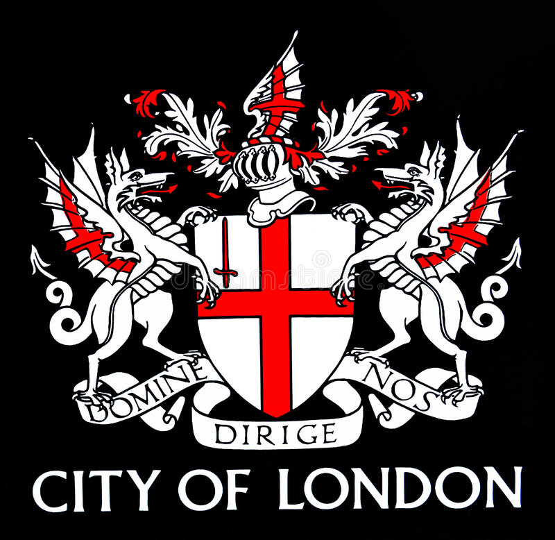 London. City of London coat of arms on black paint background royalty free stock image