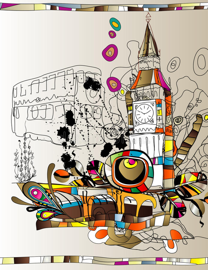 London. Art illustration of a Tower Bridge in London stock illustration