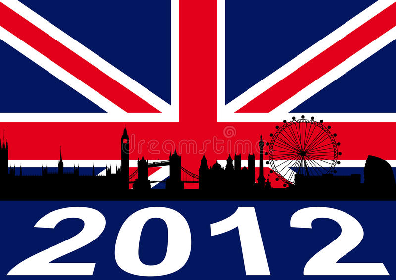 London 2012. With flag and silhouette royalty free illustration