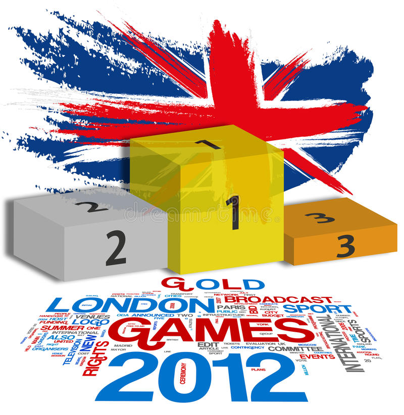 London 2012. Games - Union jack flag with placement podiums vector illustration