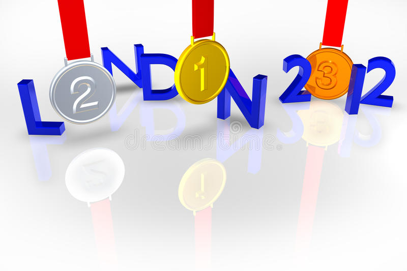 London 2012 with Medals and reflection vector illustration