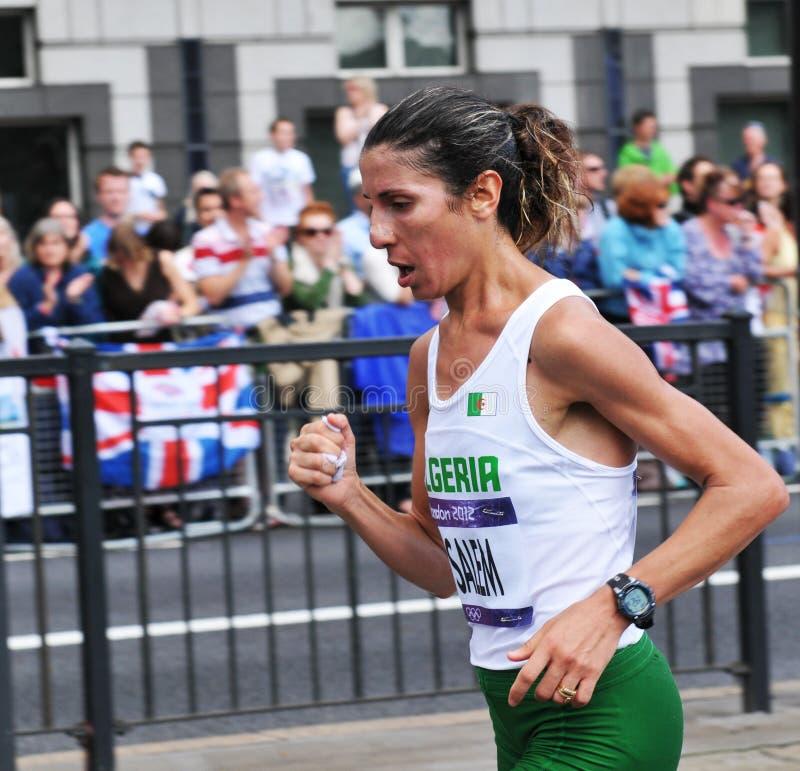London 2012 Olympic Marathon. London, UK - August 05, 2012: Souad Ait Salem, representing Algeria, competes in the London 2012 Olympics Women's Marathon stock images